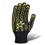 Перчатки трикотажные со звездой ПВХ черные (562)