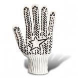 Перчатки трикотажные со звездой ПВХ (573) белые