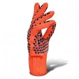 Перчатки трикотажные с точкой ПВХ двухсторонние (584) оранжевые