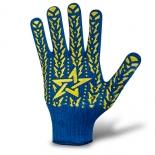 Перчатки трикотажные со звездой ПВХ синие (587)