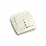 Выключатель кнопочный двухклавишный ViKO Carmen (90562002) кремовый