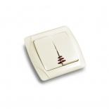 Выключатель кнопочный двухклавишный с подсветкой ViKO Carmen () кремовый