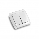 Выключатель кнопочный двухклавишный ViKO Carmen (90561002) белый