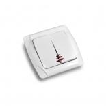 Выключатель кнопочный двухклавишный с подсветкой ViKO Carmen () белый